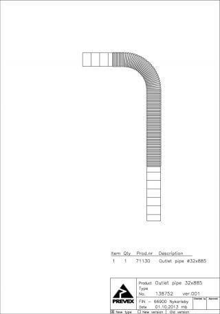 Гофра сливная 32 мм № 16
