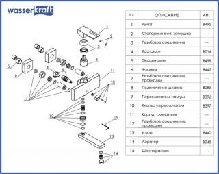 Смеситель для ванны WasserKRAFT с коротким изливом Weser 7801
