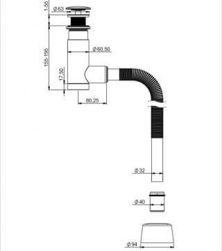 Сифон для раковины PREVEX Easy Clean 1532412