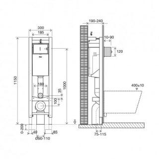 Система инсталляции для подвесного унитаза OLI QUADRA Sanitarblock (0300*1150*0180), механическая,