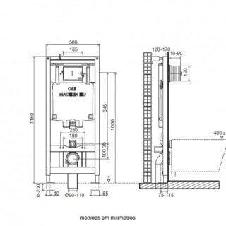 Система инсталляции для подвесного унитаза OLI 80 (0500*1150*0120), пневматическая