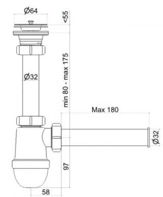 Сифон АНИ C0104 1-1/2 дюйма с прямой трубой 40