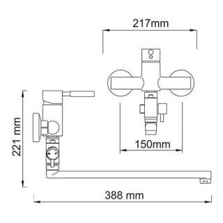 Смеситель для ванны WasserKRAFT с длинным изливом Main 4102L