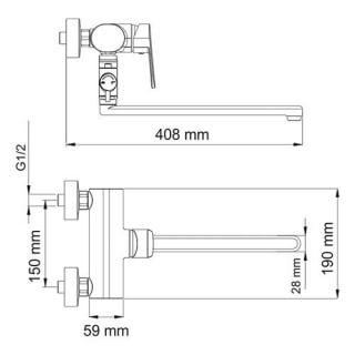 Смеситель для ванны WasserKRAFT с длинным изливом Donau 5302L