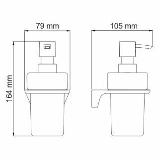 Дозатор для жидкого мыла стеклянный, 200 ml WasserKRAFT  Elbe K-7299