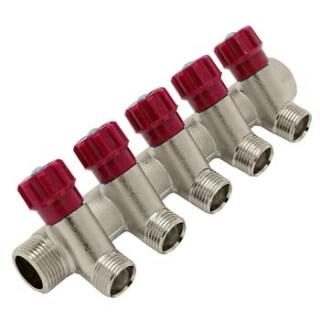 Коллектор с краном 3/4 х 5 выходов на 1/2 M SM-8045R
