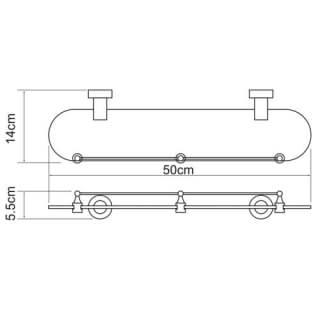 Полка стеклянная с бортиком WasserKRAFT K-9444