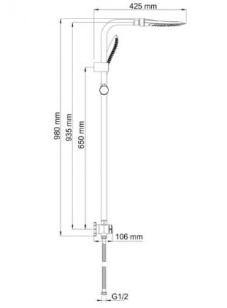 Душевой комплект WasserKRAFT A045 98х42,5 см