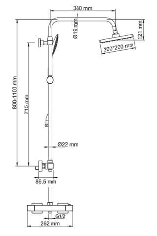 Душевой комплект со смесителем для душа WasserKRAFT A15502 Thermo 80/110 x 53 см