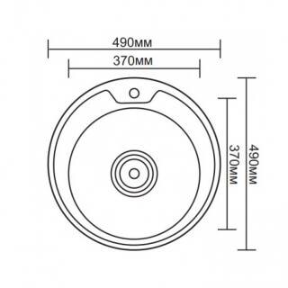 Мойка врезная G.Lauf круглая, нержавеющая сталь 0,8мм PJ-4949A размер 49*49*18 см