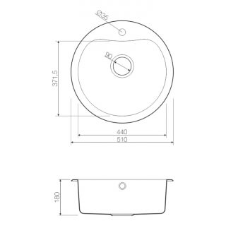 Мойка врезная G.Lauf круглая, нержавеющая сталь 0,8мм PJ-5151A  размер 51*51*18 см