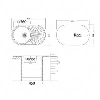 Мойка врезная овальная G.Lauf нержавеющая сталь 0,8мм PJ-5745L размер 57*44,5*18 см, левая