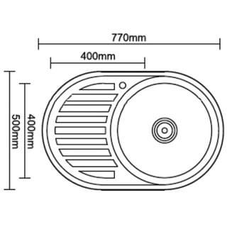 Мойка врезная G.Lauf овальная, нержавеющая сталь 0,8мм PJ-7642R размер 77*50*18 см, правая