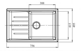 Мойка мрамор PRACTIK GF-P--760L чаша с крылом GRANFEST топаз