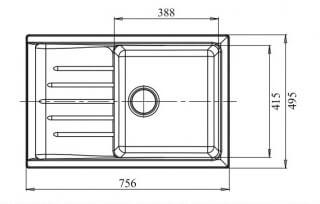 Мойка мрамор PRACTIK GF-P--760L чаша с крылом GRANFEST графит