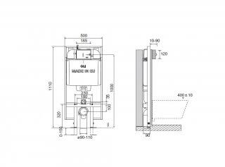 Инсталляция OLI74 PLUS SANITARBLOCK S90,  (0500/1110/090)мм под механическую панель слива.