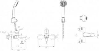 Смеситель (F-648C-B) для ванны с душем