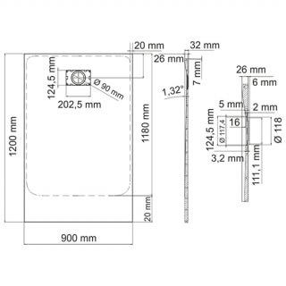 Душевой поддон WasserKRAFT Main 41T07 прямоугольник