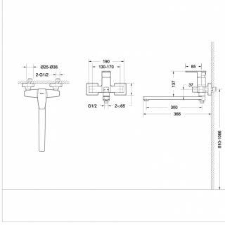 Смеситель (F-672C-L) для ванны