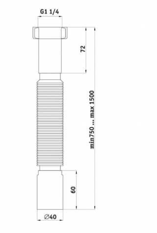 Труба гибкая гофрированная АНИ K214 1-1/4 дюйма х40 удлиненная