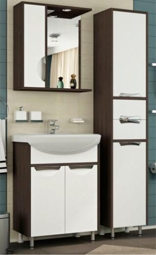 """Зеркало-шкаф для ванной """"ПРАДО 60"""" левое с подсветкой венге/белый"""