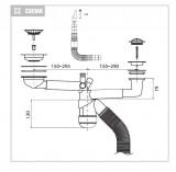 Сифон телескопический двойной для кухонной мойки №6, Prevex