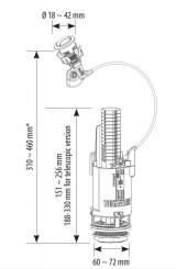Колонка для сливного бачка SIAMP BRIO 575 двухрежимная (троссовый привод)