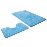 Набор ковриков для ванной и туалета голубой