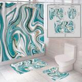 """Комплект штора и 2 коврика для ванной комнаты """"Абстракция-2"""""""