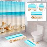"""Комплект штора и 2 коврика для ванной комнаты """"Пляж-2"""""""