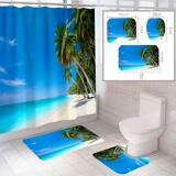 """Комплект штора и 2 коврика для ванной комнаты """"Пляж-3"""""""