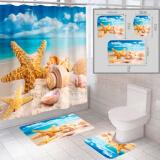 """Комплект штора и 2 коврика для ванной комнаты """"Пляж-4"""""""