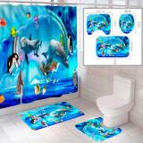 """Комплект штора и 2 коврика для ванной комнаты """"Океан-1"""""""