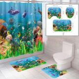 """Комплект штора и 2 коврика для ванной комнаты """"Океан-2"""""""