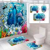 """Комплект штора и 2 коврика для ванной комнаты """"Океан-3"""""""