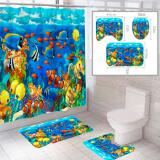 """Комплект штора и 2 коврика для ванной комнаты """"Океан-4"""""""