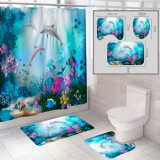 """Комплект штора и 2 коврика для ванной комнаты """"Океан-8"""""""