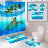 """Комплект штора и 2 коврика для ванной комнаты """"Океан-10"""""""