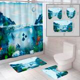 """Комплект штора и 2 коврика для ванной комнаты """"Океан-12"""""""