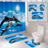 """Комплект штора и 2 коврика для ванной комнаты """"Океан-13"""""""