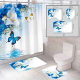 """Комплект штора и 2 коврика для ванной комнаты """"Бабочка-1"""""""