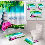 """Комплект штора и 2 коврика для ванной комнаты """"Камни"""""""