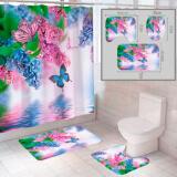 """Комплект штора и 2 коврика для ванной комнаты """"Бабочка-2"""""""