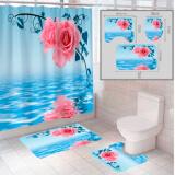"""Комплект штора и 2 коврика для ванной комнаты """"Цветы-1"""""""