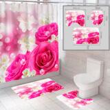"""Комплект штора и 2 коврика для ванной комнаты """"Цветы-2"""""""