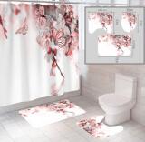 """Комплект штора и 2 коврика для ванной комнаты """"Цветы-3"""""""