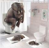 """Комплект штора и 2 коврика для ванной комнаты """"Слон"""""""
