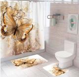 """Комплект штора и 2 коврика для ванной комнаты """"Бабочка-3"""""""