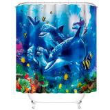 """Штора для ванной комнаты с кольцами ФОТОПЕЧАТЬ """"Дельфины-3"""" 180х180"""
