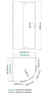 Душевой уголок WasserKRAFT Leine 35P01 сектор, с распашными дверьми